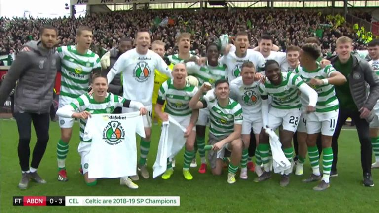 Celtic secured their place as champions of the Scottish Premiership for an eighth season in a row following their 3-0 win against Aberdeen