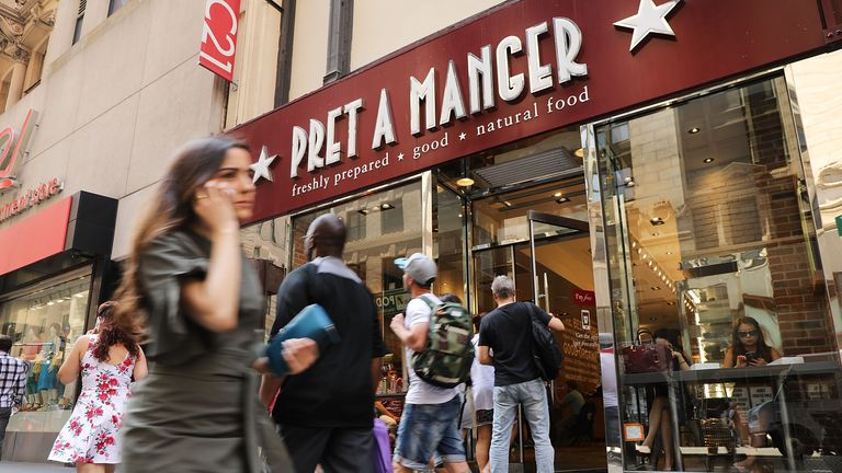 NEW YORK, NY - MAY 29:  People walk by a Pret A Manger food chain in lower Manhattan on May 29, 2018 in New York City. The Luxembourg-based holding company JAB said on Tuesday that it had purchased the UK sandwich chain, which operates 530 stores that generated sales $1.2 billion in 2017, from private equity owner Bridgepoint and minority shareholders. Pret stores primarily sell sandwiches, salads and coffee that often appeal to a more health conscious clientele.  (Photo by Spencer Platt/Getty Images)