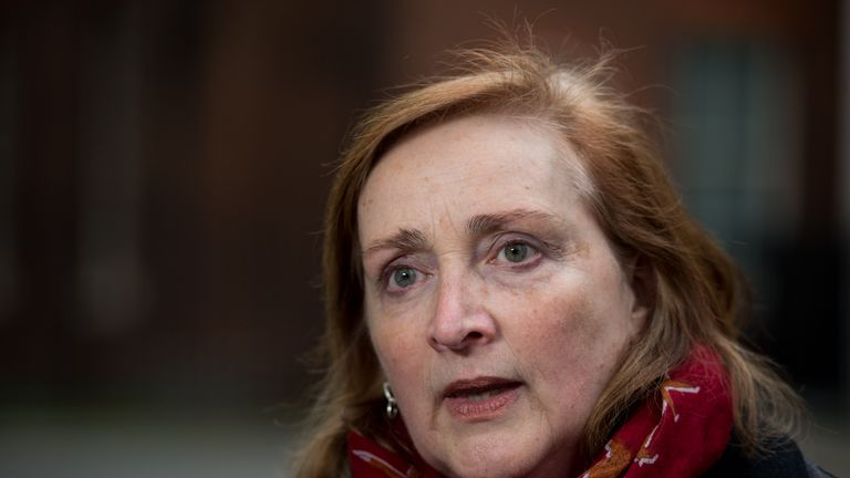 LONDON, ENGLAND - APRIL 13:  Emma Dent Coad, British Labour Party Member of Parliament, speaks to a reporter after handing in a petition at 10 Downing Street from anti war demonstrators during a protest opposite Downing Street over the possibility of British military involvement in Syria on April 13, 2018 in London, England. British Prime minister Theresa May received the unanimous backing of her cabinet as she called an emergency meeting to discuss the posibility of UK intervention in Syria after the alleged use of chemical weapons in the country.  (Photo by Chris J Ratcliffe/Getty Images)