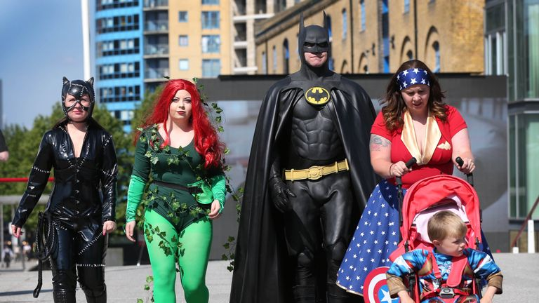 Comic character enthusiasts (left to right) Cassie Cook-McCormick, Paige McCormick, David Gooding, Emma Melling, and Dominic Gooding from Bournemouth arrive for the first day of MCM Comic Con at the ExCel London in Canning Town, east London.