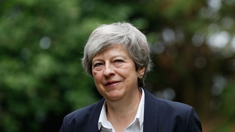 Britain's Prime Minister Theresa May arrives to attend a church service, near her Maidenhead constituency, west of London on May 26, 2019. - The race to become Britain's next premier opened Saturday with an array of hopefuls promising to succeed where Theresa May failed and finally pull the divided country out of the EU. The British prime minister's voice broke on the steps of her Downing Street office when she told Britons on Friday that she was quitting on June 7. (Photo by Adrian DENNIS / AFP)        (Photo credit should read ADRIAN DENNIS/AFP/Getty Images)