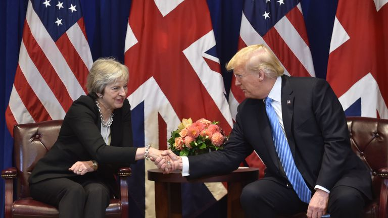 British Prime Minister Theresa May meets with US President Donald Trump, September 26, 2018 on the sidelines of the United Nations General Assembly (UNGA) in New York. (Photo by Nicholas Kamm / AFP)        (Photo credit should read NICHOLAS KAMM/AFP/Getty Images)