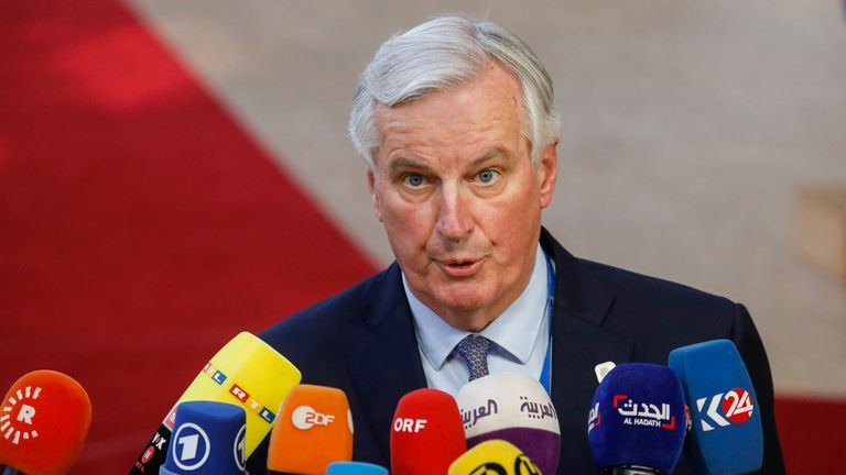 Brexit Chief Negotiator Michel Barnier talks to the press as he arrives at the EU summit meeting, Wednesday 10 April 2019, at the European Union headquarters in Brussels. BELGA PHOTO THIERRY ROGE        (Photo credit should read THIERRY ROGE/AFP/Getty Images)