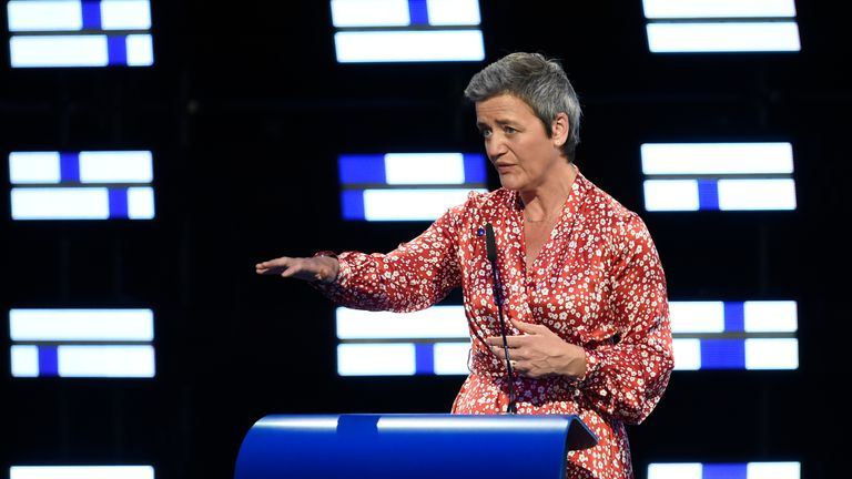 Danish candidate for the European Commission Presidency Margrethe Vestager of the Alliance of Liberals and Democrats for Europe (ALDE) gives a speech during a EPP election-night event for European parliamentary elections in Brussels on May 26, 2019. (Photo by JOHN THYS / AFP)        (Photo credit should read JOHN THYS/AFP/Getty Images)