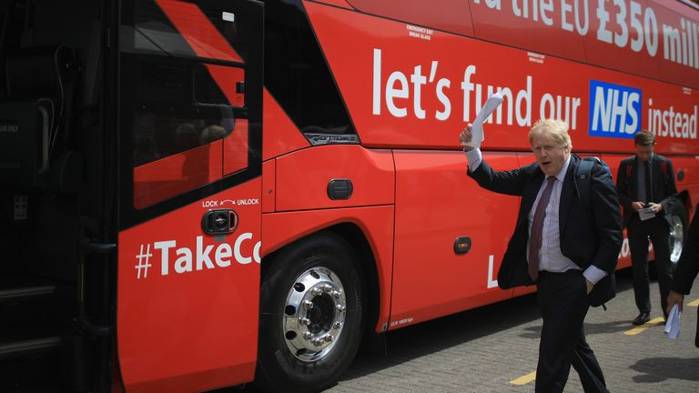 WORCESTER, ENGLAND - MAY 16: Boris Johnson MParrives in Stafford to board the Vote Leave, Brexit Battle Bus on May 17, 20016 in Stafford, England. Boris Johnson and the Vote Leave campaign are touring the UK in their Brexit Battle Bus. The campaign is hoping to persuade voters to back leaving the European Union in the Referendum on the 23rd June 2016.  (Photo by Christopher Furlong/Getty Images)