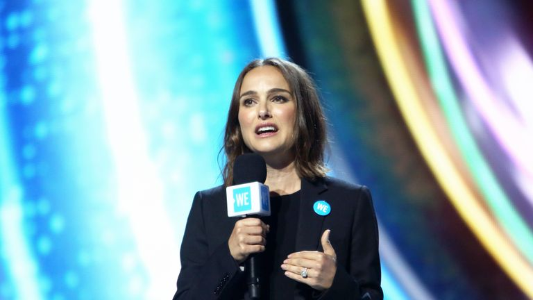 INGLEWOOD, CALIFORNIA - APRIL 25: Natalie Portman speaks onstage at WE Day California at The Forum on April 25, 2019 in Inglewood, California. (Photo by Jesse Grant/Getty Images for WE Day)