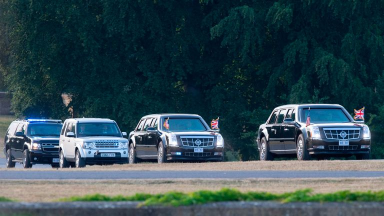 The motorcade carrying US President Donald Trump and US First Lady Melania Trump arrives at Blenheim Palace, west of London, on July 12, 2018, on the first day of President Trump's visit to the UK. - The four-day trip, which will include talks with Prime Minister Theresa May, tea with Queen Elizabeth II and a private weekend in Scotland, is set to be greeted by a leftist-organised mass protest in London on Friday. (Photo by WILL OLIVER / POOL / AFP)        (Photo credit should read WILL OLIVER/AFP/Getty Images)