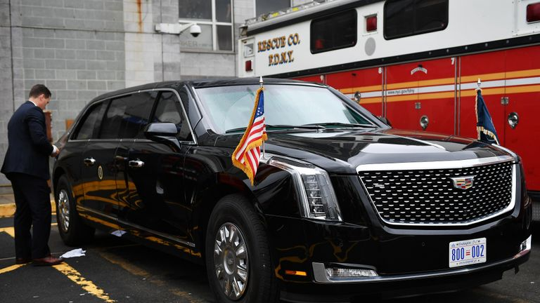 The presidential limousine is seen before the arrival of US President Donald Trump on lower Manhattan in New York on September 23, 2018. - Trump is in New York for the UN General Assembly. (Photo by MANDEL NGAN / AFP)        (Photo credit should read MANDEL NGAN/AFP/Getty Images)