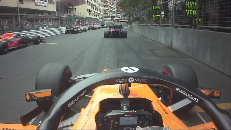 Watch as McLaren's Carlos Sainz overtook two cars on the opening lap of the Monaco GP