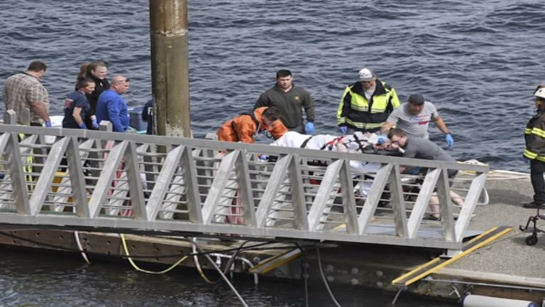 Emergency crews help an injured sightseeing passenger on a stretcher. Pic: Ketchikan Daily News