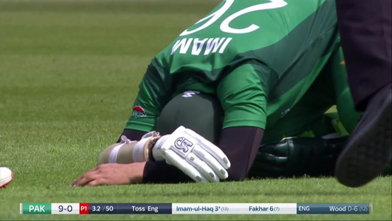 Imam-ul-Haq retired hurt after being struck on the elbow by a Mark Wood delivery only to return