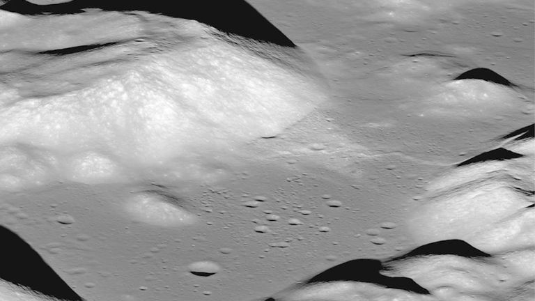 The fault scarps resemble small stair-step shaped cliffs when seen from the lunar surface. Pic: NASA/GSFC/Arizona State University