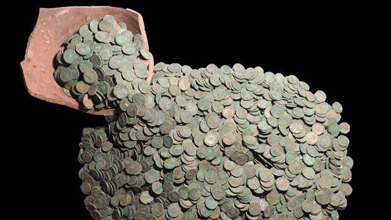The coins are thought to have been buried as part of a ceremonial ritual