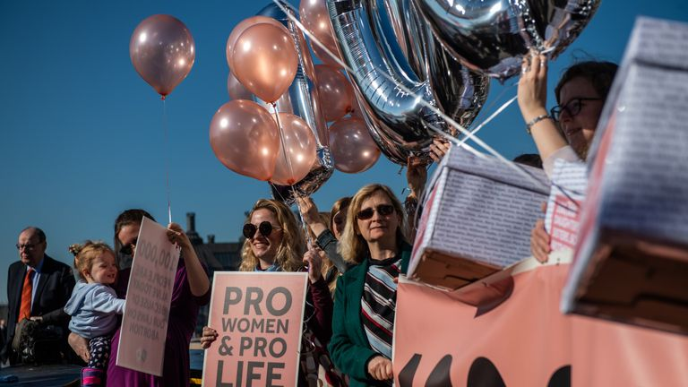 Pro-life campaigners demonstrate to protect Northern Ireland's abortion laws