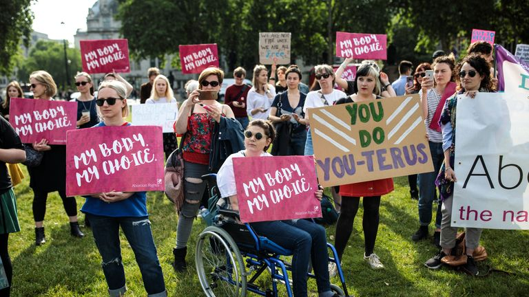 Pro-choice campaigners protesting Northern Ireland's abortion laws demonstrate outside the Houses of Parliament last year