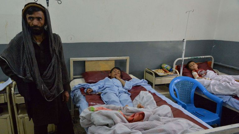 Afghan wounded children receive medical treatments at a hospital following an explosion
