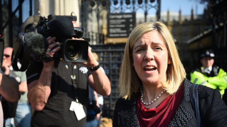 Andrea Jenkyns MP speaks to media outside Westminster