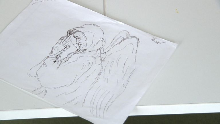 A sketch of an angel, drawn by Henriett