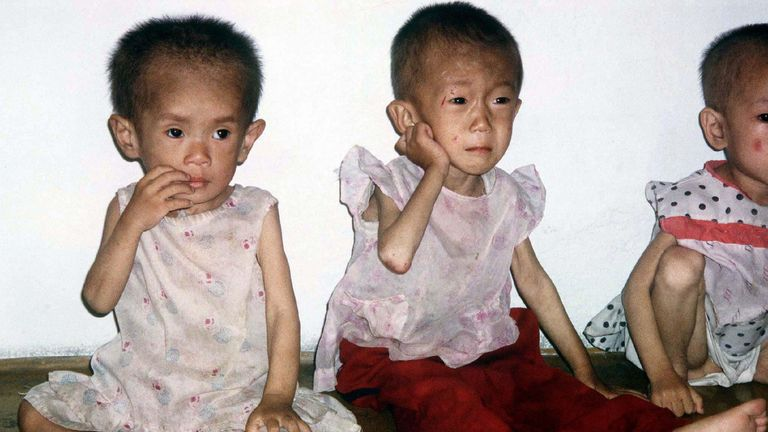 Children between the ages of four and five suffering from malnutrition are pictured in a nursery in Anpyon County, Kangwon province in hunger-stricken North Korea in July 1997