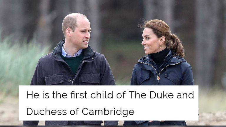 The Royal Family website said Archie was the first child of the Duke and Duchess of Cambridge
