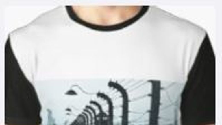 A top depicting Auschwitz on Redbubble