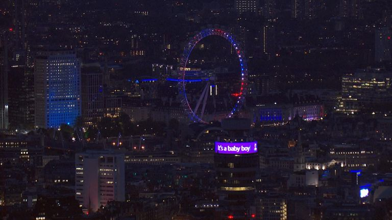 Landmarks including the National Theatre, the London Eye and the BT Tower have lit up in honour of the new Royal baby