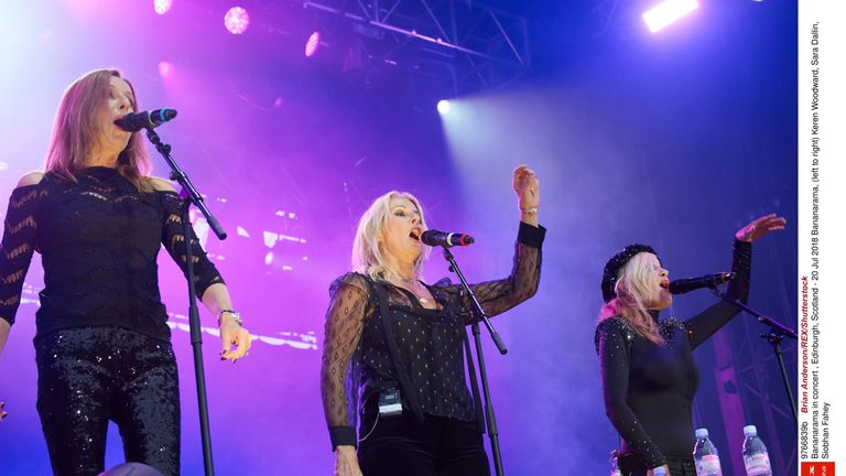 Shakespears Sister's Siobhan Fahey (right) joined her former Bananarama bandmates Keren Woodward and Sara Dallin for their reunion tour in 2017.