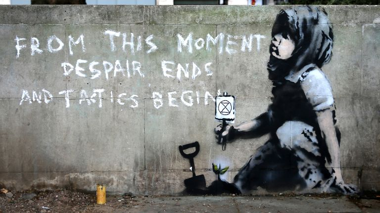 A Banksy mural in London supporting climate change protests Pic: Isabel Infantes / AFP