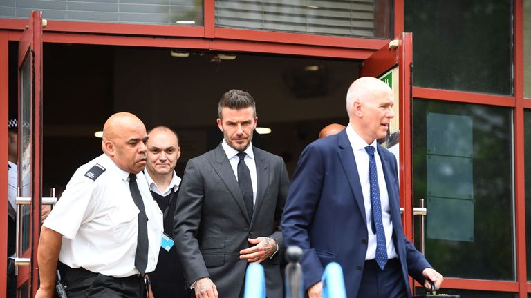 Beckham left the court after being given a six month ban