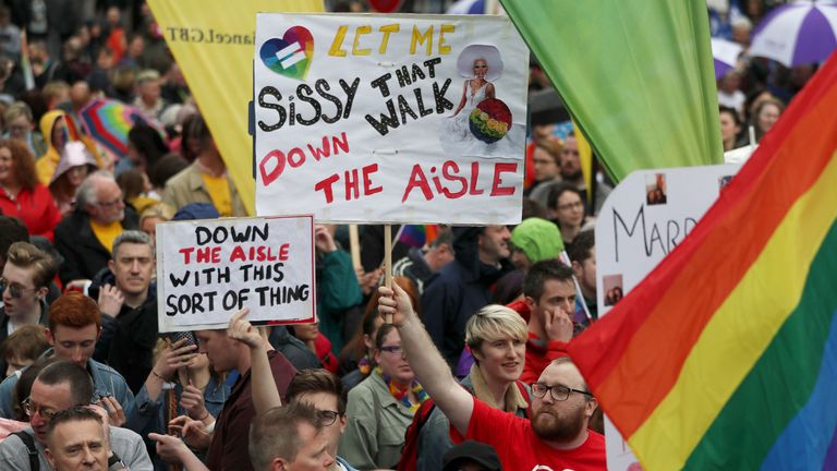 Up to 8,000 people took part in the rally in Belfast