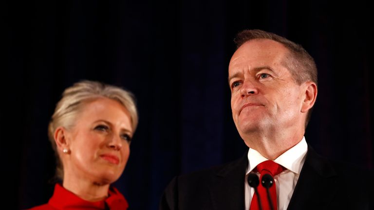 Leader of the Opposition and Leader of the Labor Party Bill Shorten, flanked by his wife Chloe Shorten concedes defeat following the results of the Federal Election at Hyatt Place Melbourne