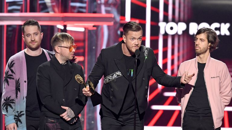 Daniel Platzman, Ben McKee, Dan Reynolds, and Wayne Sermon of Imagine Dragons accept the Top Rock Artist award onstage during the 2019 Billboard Music Awards at MGM Grand Garden Arena on May 01, 2019 in Las Vegas, Nevada. (Photo by Kevin Winter/Getty Images for dcp)