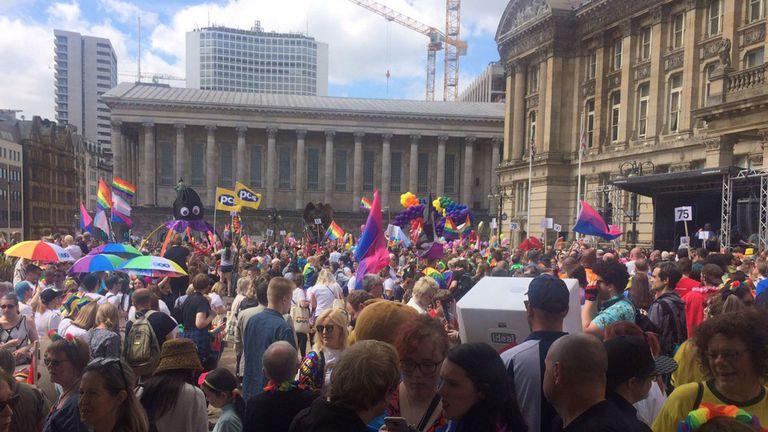People waiting for Andrew Moffat to speak at the Birmingham Pride parade. Pic: Twitter/@mjclaridge