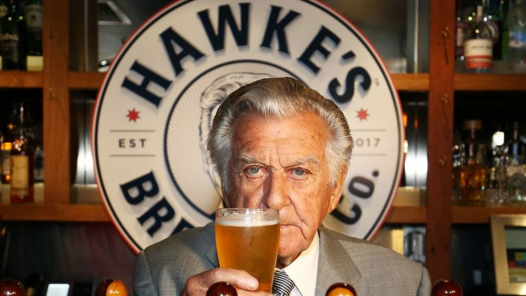 Bob Hawke toasts Hawke's Lager at the launch of Hawke's Lager at The Clock Hotel on April 6, 2017 in Sydney, Australia