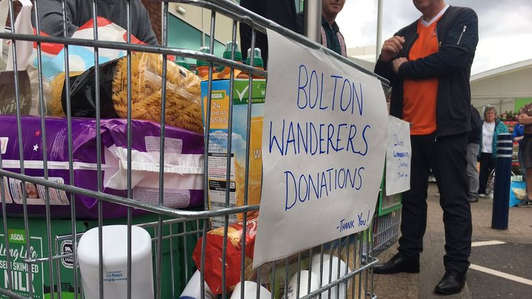 Food banks in Bolton are focused on getting food to families affected by the club's administration