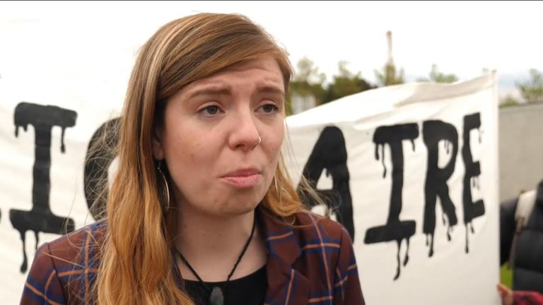 Climate change protester Kate Whitaker at BP AGM 21/5/2019
