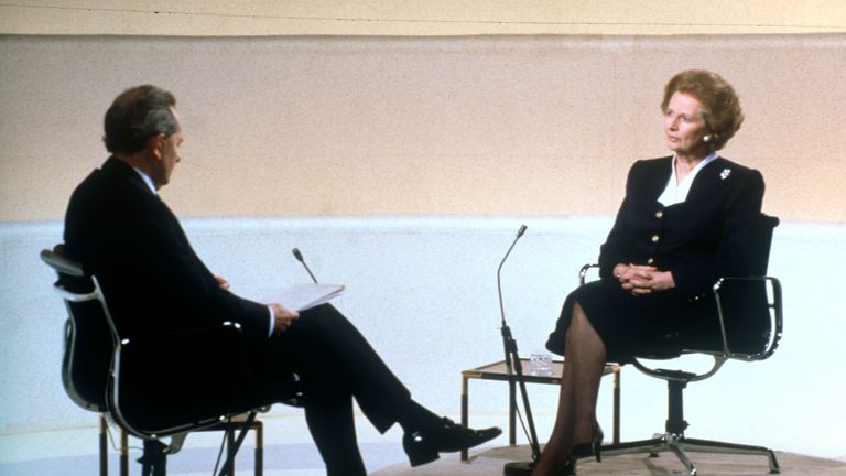 Broadcaster and former Labour MP Brian Walden interviewing then prime minister Margaret Thatcher