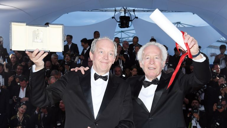 "CANNES, FRANCE - MAY 25: Luc Dardenne and Jean-Pierre Dardenne, winners of the Best Director Award for the film ""Le Jeune Ahmed"", pose at the winner photocall during the 72nd annual Cannes Film Festival on May 25, 2019 in Cannes, France. (Photo by Pascal Le Segretain/Getty Images)"