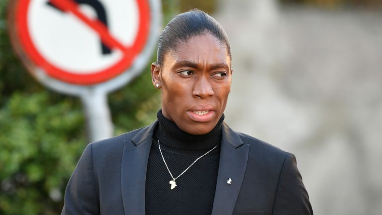 Semenya outside the Court of Arbitration for a hearing in February