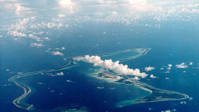 An undated file photo shows Diego Garcia, the largest island in the