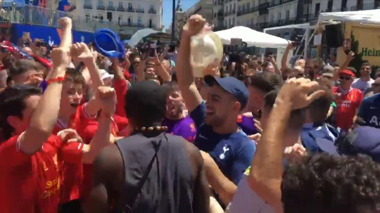 Liverpool and Tottenham fans appear to have been mixing well in Madrid. Pic: @FBAwayDays