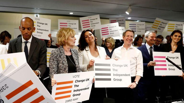 (L-R) Chuka Umunna, Anna Soubry, Heidi Allen and Chris Leslie Independent MP's of the new pro-EU political party, Change UK pose during the launch of their European election campaign in Bristol on April 23, 2019. (Photo by Adrian DENNIS / AFP)        (Photo credit should read ADRIAN DENNIS/AFP/Getty Images)