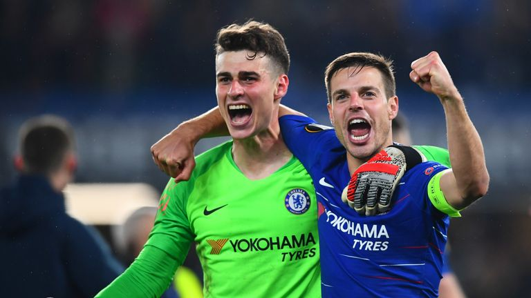 Chelsea's Kepa Arrizabalaga and Cesar Azpilicueta celebrate their win