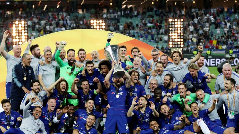 Chelsea celebrate with the trophy after winning the Europa League in Baku