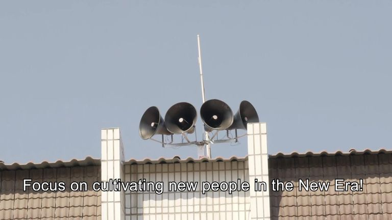 The loudspeakers relay the Party's message three times a day