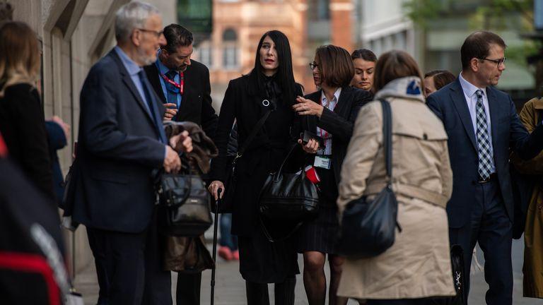 Christine Delcros (C), girlfriend of victim Xavier Thomas, at the London Bridge attacks inquest