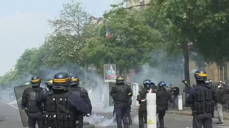 Clashes between May Day protesters and police