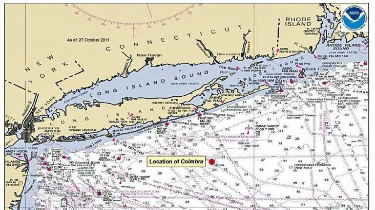 This chartlet indicates the location of the Coimbra ship wreck site approximately 30 miles southeast of Shinnecock, N.Y. The Coimbra was a supply ship owned by Great Britain when the ship was sunk off the coast of Long Island, during World War II by a German U-boat. (U.S. Coast Guard photo)