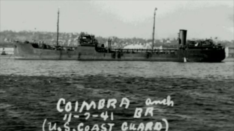 The Coimbra - a British tanker sunk by a German U-boat off New York in World War Two. Pic: US Coast Guard