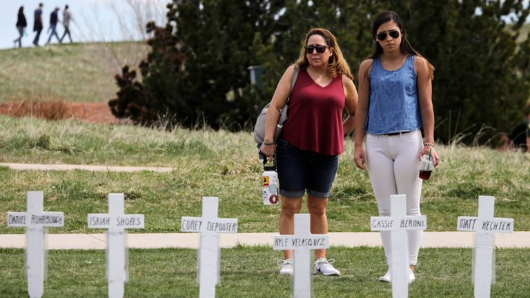 Crosses with the names of the victims of the 1999 attack at the Columbine Memorial